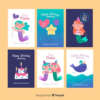 Colección tarjetas sirena cumpleaños