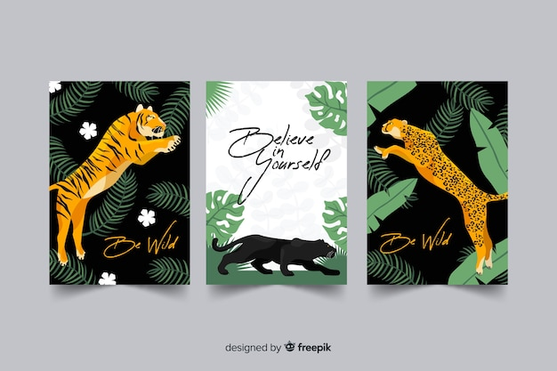 Colección de tarjetas de tigre dibujadas a mano