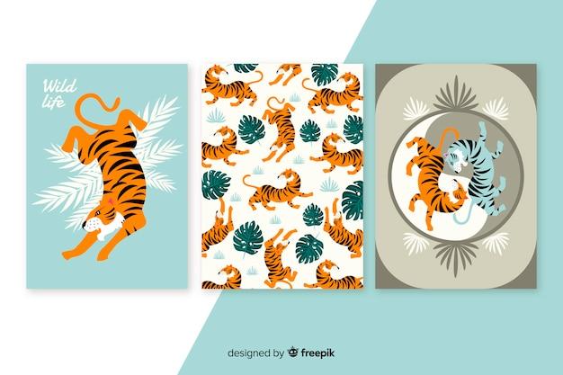 Colección tarjetas tigre salvaje diseño plano