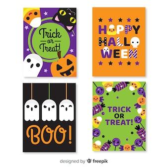Colección de tarjetas truco o trato de halloween
