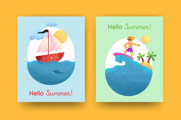 Colección de tarjetas de verano de acuarela