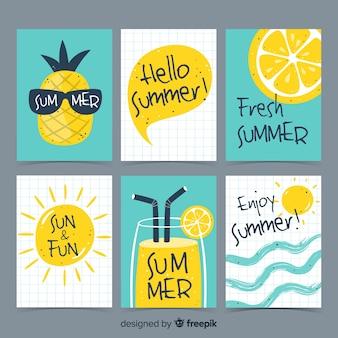 Colección tarjetas verano dibujadas a mano