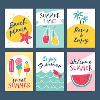Colección de tarjetas de verano dibujadas a mano