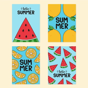 Colección tarjetas de verano dibujadas a mano
