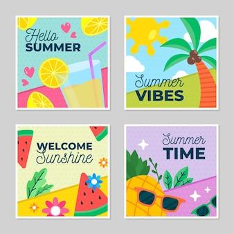 Colección de tarjetas de verano de diseño plano