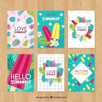 Colección de tarjetas de verano con helados