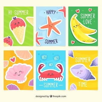 Colección de tarjetas de verano con lindas caricaturas