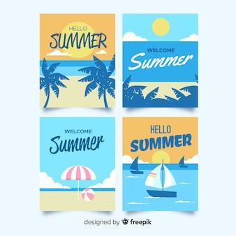 Colección tarjetas de verano planas