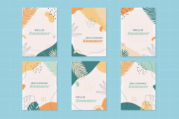 Colección de tarjetas de verano planas