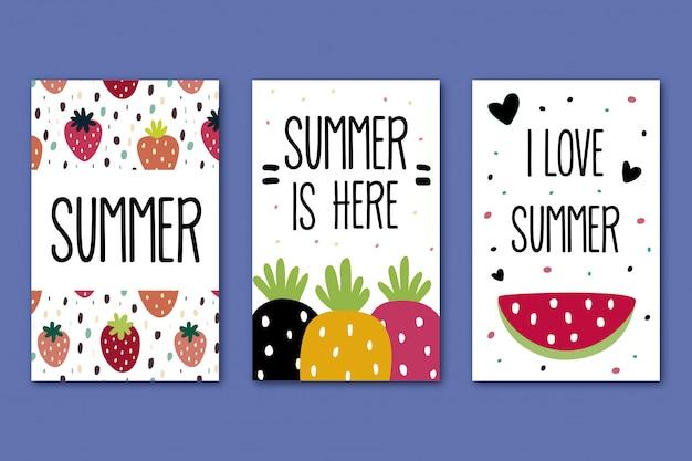 Colección de tarjetas de verano