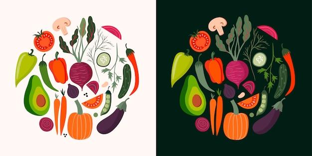 Colección de tarjetas de verduras con elementos aislados dibujados a mano