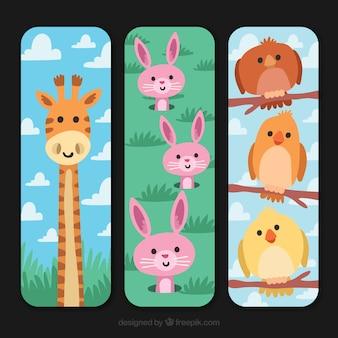 Colección de tarjetas verticales con animales