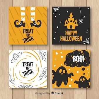 Colección de tarjetas vintage de halloween