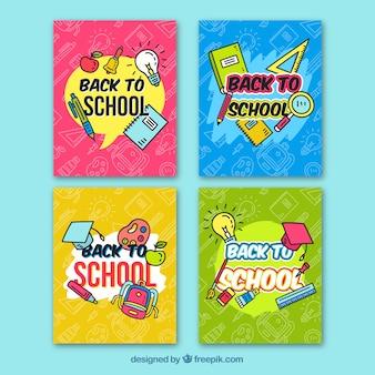 Colección de tarjetas de vuelta al colegio dibujada a mano