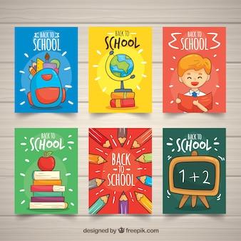 Colección de tarjetas de vuelta al colegio con elementos