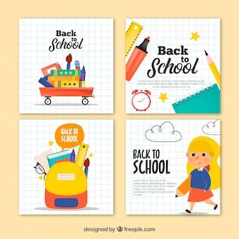 Colección de tarjetas de vuelta al colegio