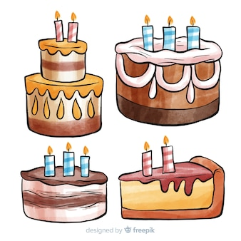 Colección de tartas de cumpleaños en acuarela