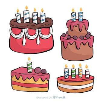 Colección de tartas de cumpleaños dibujadas a mano
