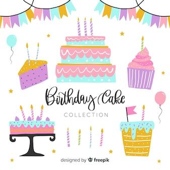 Colección de tartas de cumpleaños dibujado a mano