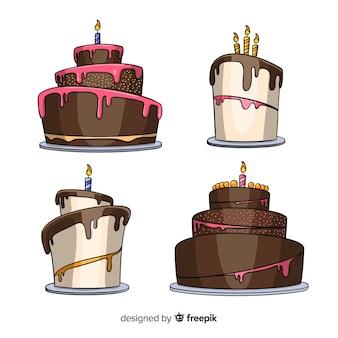Colección de tartas de cumpleaños de dibujo animado