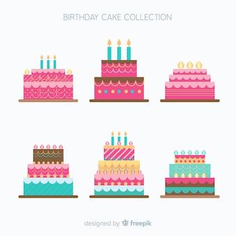 Colección de tartas de cumpleaños en diseño plano