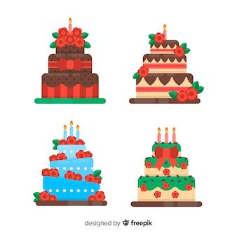 Colección tartas de cumpleaños en diseño plano
