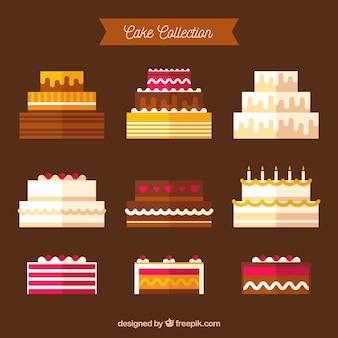Colección de tartas de cumpleaños en estilo plano