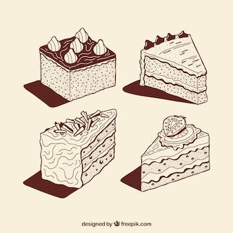 Colección de tartas de cumpleaños marrones