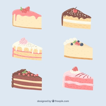 Colección de tartas deliciosas en estilo hecho a mano