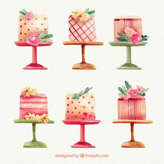 Colección de tartas elegantes de cumpleaños