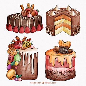 Colección de tartas en estilo acuarela