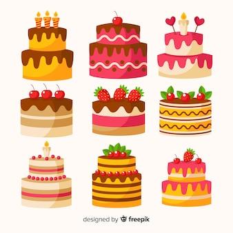 Colección tartas planas cumpleaños