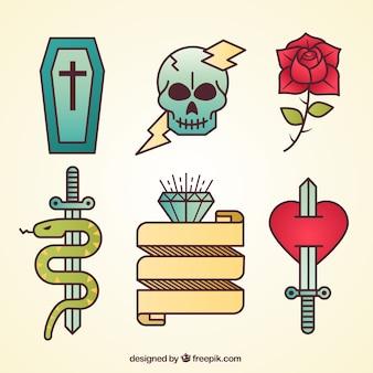 Colección de tatuajes básicos old school