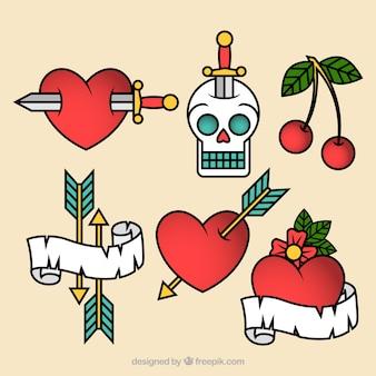 Colección de tatuajes de corazones old school