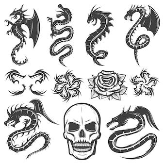Colección de tatuajes monocromáticos vintage