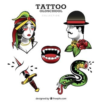 Colección de tatuajes old school de diseño plano