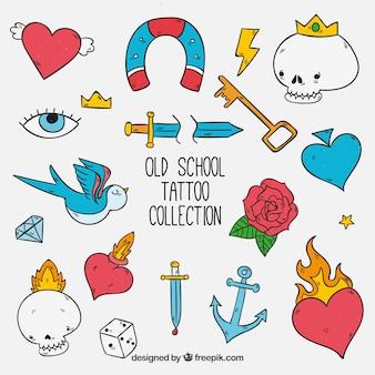 Colección de tatuajes old school divertidos dibujados a mano