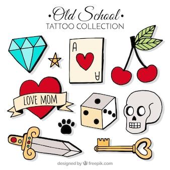 Colección de tatuajes old school con estilo dibujado a mano