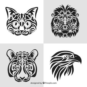 Colección de tatuajes tribales de animales