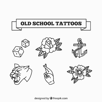 Colección de tatuajes de la vieja escuela