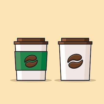 Colección de taza de papel de café caliente