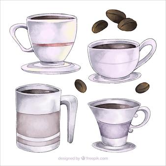 Colección de tazas de café de acuarela
