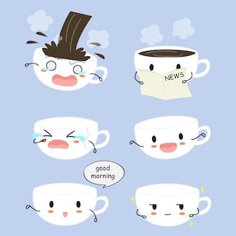 Colección de tazas de café con caras bonitas.