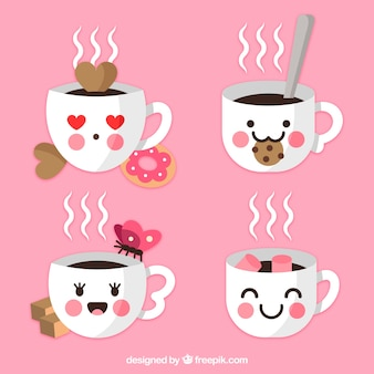Colección de tazas de café con galletas y caras
