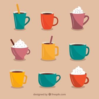 Colección de tazas de café planas