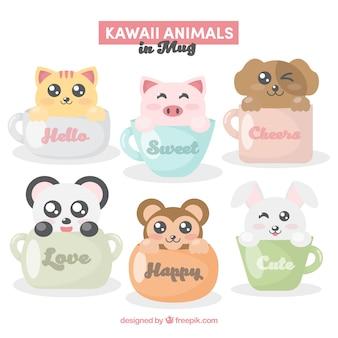 Colección de tazas con lindos animales