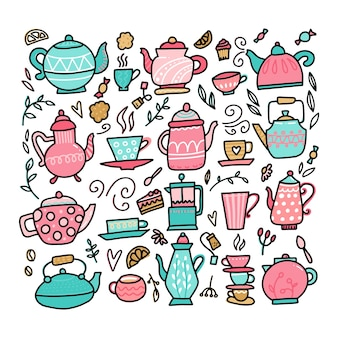 Colección de tazas de té y tetera de estilo doodle estilo lineal higge simple acogedor escandinavo