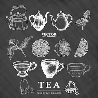 Colección de té dibujado a mano en pizarra