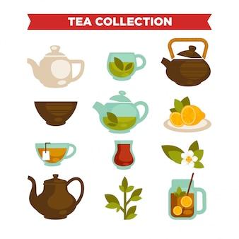 Colección de té de tazas de vectores