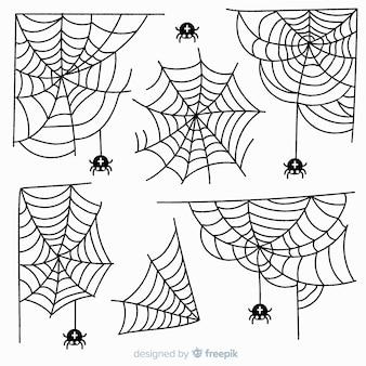 Colección de tela de araña dibujada a mano sobre fondo blanco
